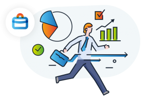 Illustration showing a man among icons representing analytics, charts and progress