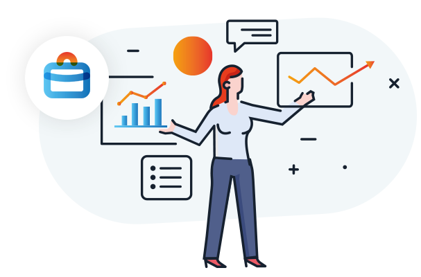 Illustration showing a businesswoman among charts and todo lists