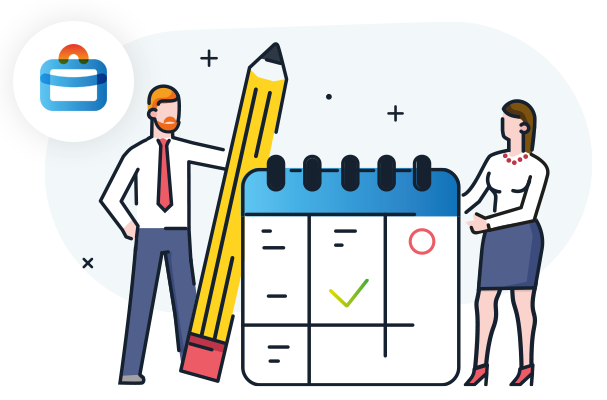 Illustration showing a man and a woman with a planner notepad