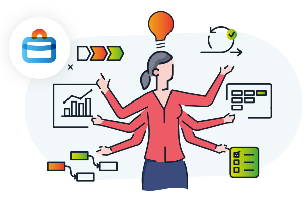 Illustration showing a woman among icons representing various styles of work, charts and workflows