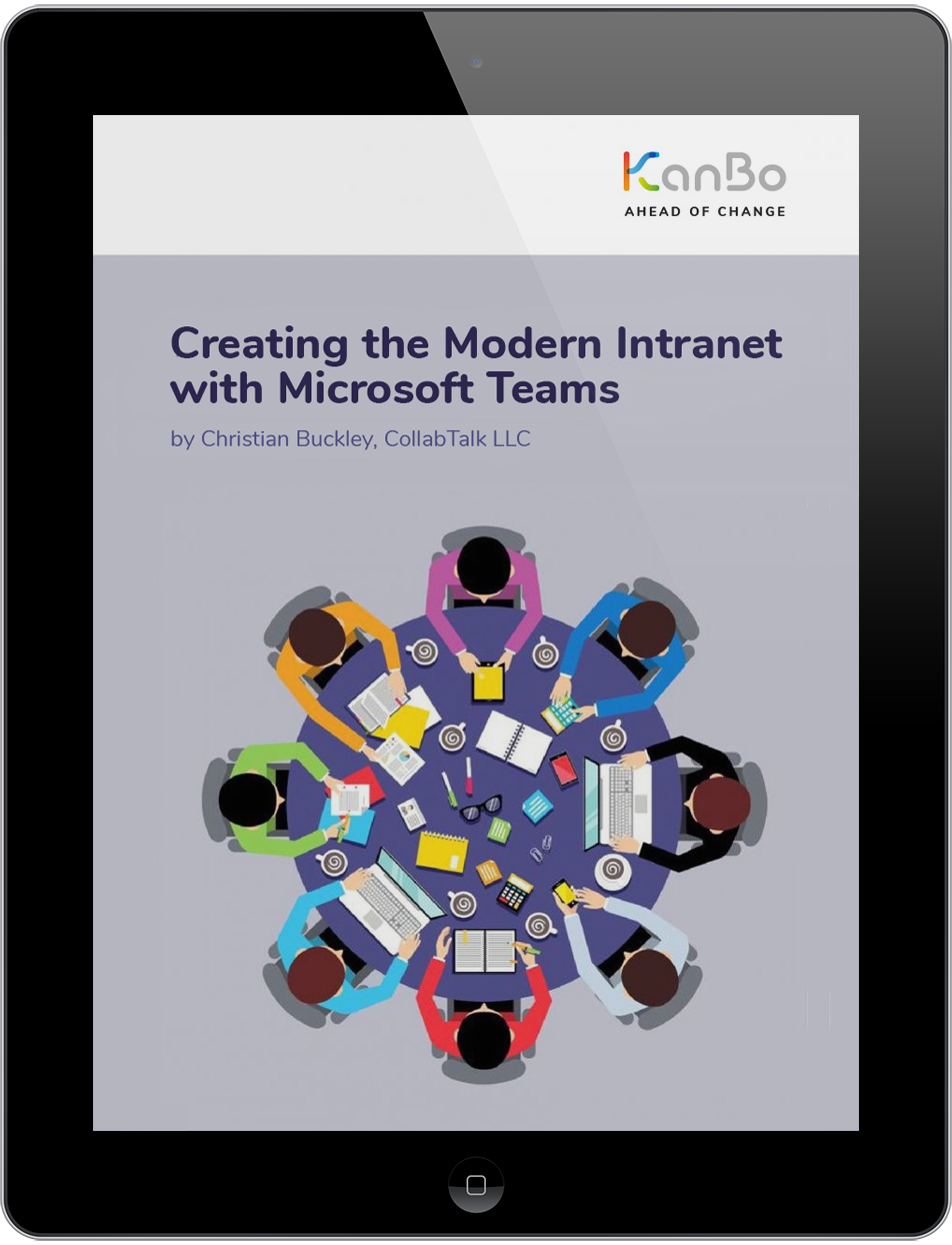 "KanBo eBook cover ""Creating the Modern Intranet with Microsoft Teams"" tablet view"