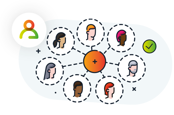 The illustration showing a network of people sharing knowledge