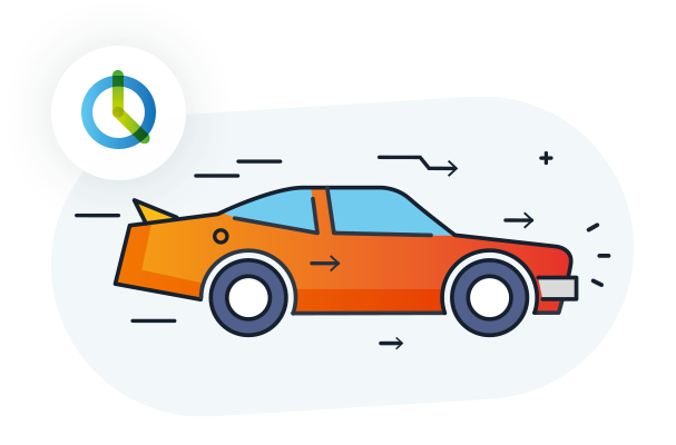 The illustration shows a moving car