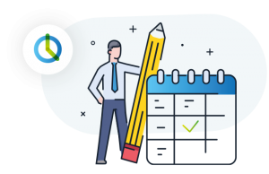 the illustration shows a man who is standing next to a large pencil and board