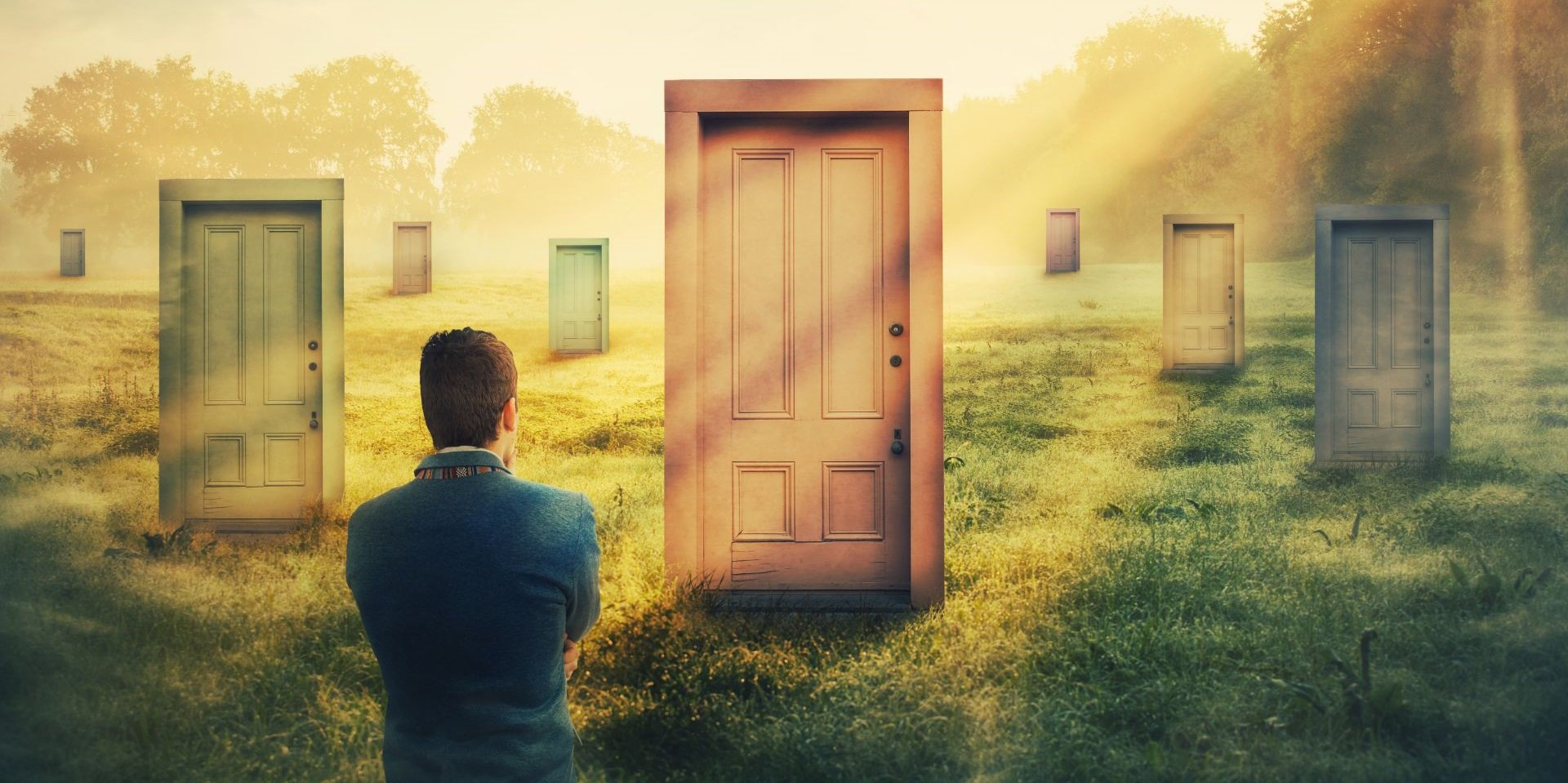 An illustration where we see a person wondering which door to open